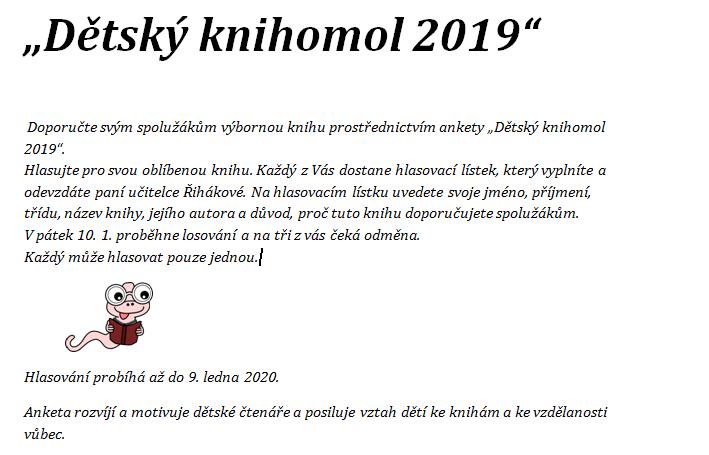 """Anketa """"Dětský knihomol 2019"""""""