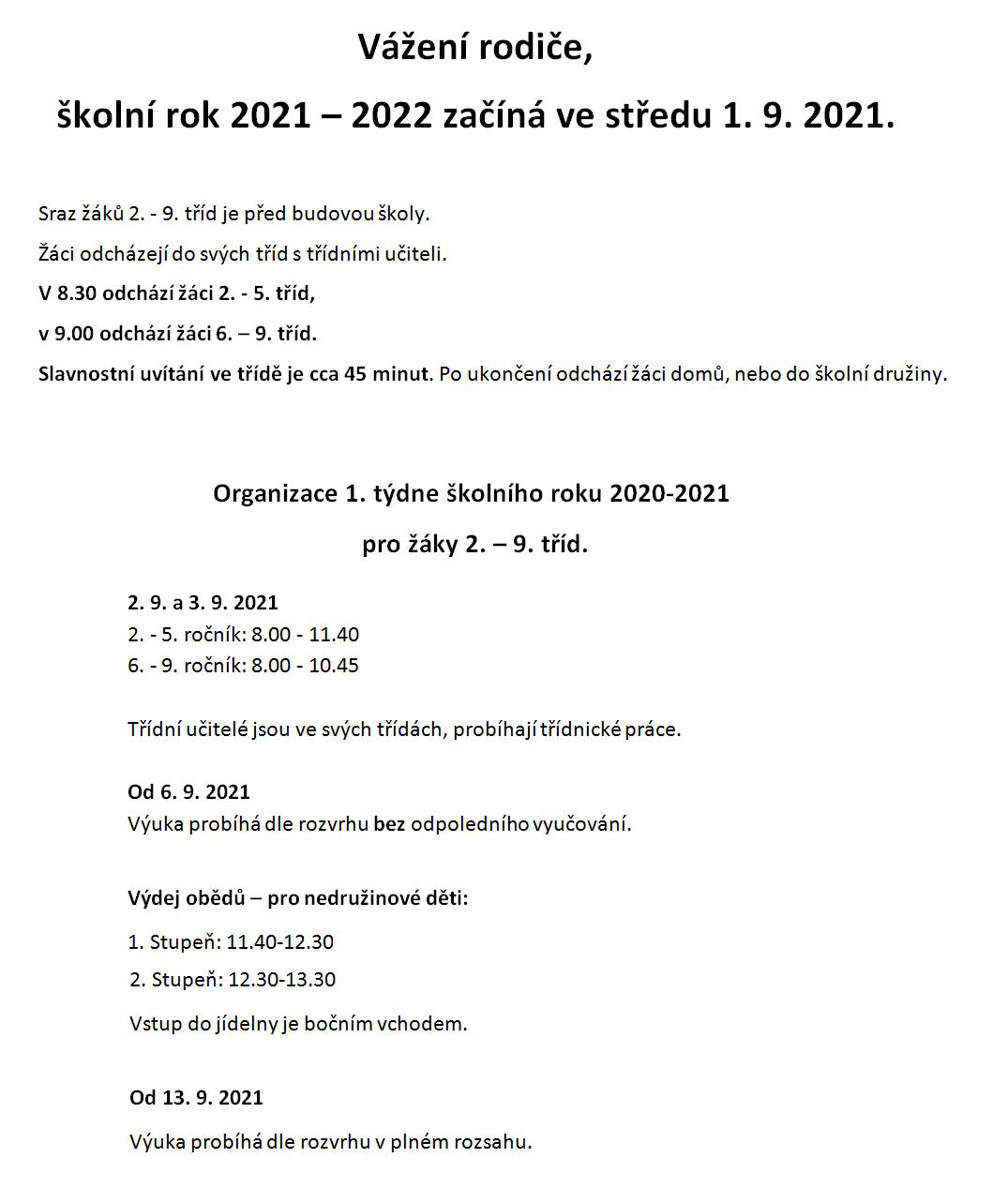 Informace pro žáky 2. -9. tříd k zahájení školního roku 2021-2022